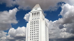 Los Angeles City Hall Tower with Gathering Clouds Time Lapse - stock footage