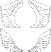 Two pairs of outlined vector wings. - stock illustration