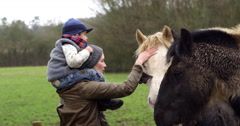 Mother And Child Stroking Horse On Walk Shot On R3D Stock Footage