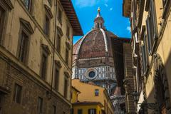 Street of Florence with Santa Maria del Fiore Cathedral, also called Duomo, i Stock Photos