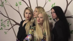 Girlfriends doing grimaces for selfie - stock footage