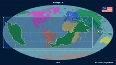 Malaysia - 3D tube zoom (Mollweide projection). Continents - stock footage