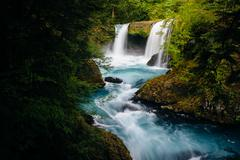 View of Spirit Falls on the Little White Salmon River in the Columbia River G Stock Photos