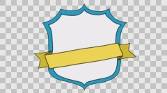 Banner & Badge 6 cartoon illustration hand drawn animation transparent - stock footage
