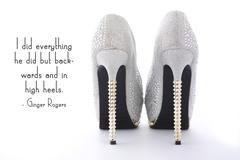 Rhinestone High Heel Stiletto Shoes with funny saying. - stock photo