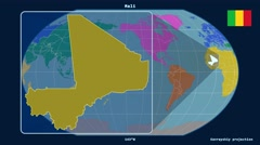 Mali - 3D tube zoom (Kavrayskiy VII projection). Continents - stock footage