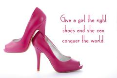 Pair of high heel stiletto pink shoes with funny quote Stock Photos