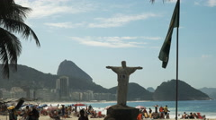Christ statue replica on copacabana beach in rio de janeiro, brazil Stock Footage