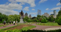 Establishing Shot of the Entrance to Boston Public Garden   Stock Footage
