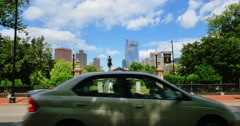 Traffic Passes Entrance to Boston Public Garden Stock Footage
