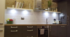 Kitchen In Modern Stylish Apartment Shot On R3D Stock Footage