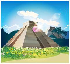 Mayan pyramids - stock illustration
