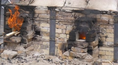 Furnaces For Enamel and Clay Burning Flame Comes Out Pieces of Wood Are in Fire Stock Footage