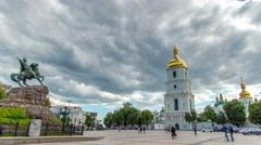 Sophia Square in downtown Kiev. Ukraine. Time lapse. Zoom in Stock Footage