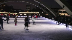 People doing ice skating in Toronto Stock Footage