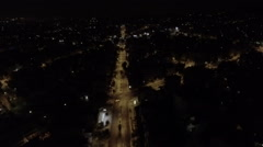 Aerial view of city by night Stock Footage