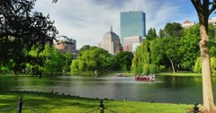 Day Establishing Shot Swan Boats in Boston Public Garden  Stock Footage