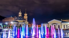 Fountain during the night at the Postal Square in Kiev.Ukraine. Time lapse Stock Footage