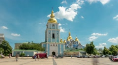 Michael's Square in downtown Kiev. Ukraine.  Timelapse in motion Stock Footage