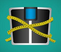 Measure tape and dieting - stock illustration