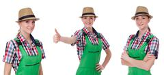Collage of woman wearing green coveralls isolated on white - stock photo