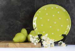 Modern Green and White Polka Dot Kitchen - stock photo