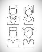 People profile silhouette - stock illustration
