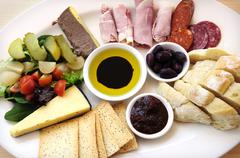 Ploughmans Lunch antipasto style platter - stock photo
