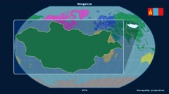 Mongolia - 3D tube zoom (Kavrayskiy VII projection). Continents Stock Footage