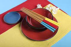 Modern take on traditional Japanese oriental place setting - stock photo