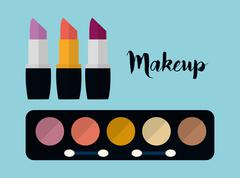 Womens make up and cosmetics Stock Illustration