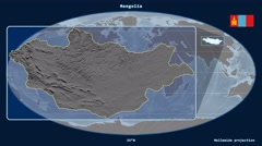 Mongolia - 3D tube zoom (Mollweide projection). Bumps - stock footage