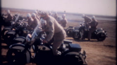 3382 military police in motorcycle training at base-vintage film home movie - stock footage