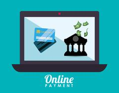 Money bank and online payment - stock illustration