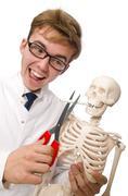 Antismoking concept with man and skeleton - stock photo