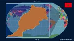 Morocco - 3D tube zoom (Kavrayskiy VII projection). Administrative - stock footage