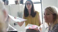 Female Manager Leads Brainstorming Meeting In Design Office Stock Footage