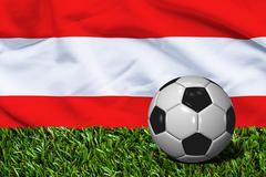 Soccer Ball on Grass with Austria Flag Background, 3D Rendering - stock illustration
