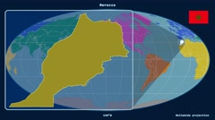 Morocco - 3D tube zoom (Mollweide projection). Continents - stock footage