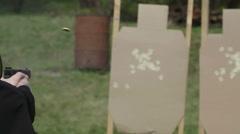 Shooting at outdoor Gun Range - real bullets Stock Footage