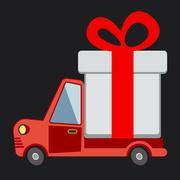 Delivery flat transport truck, van with gift box pack on black - stock illustration