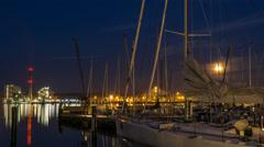 Kiel | Moonrise behind Yacht Stock Footage