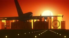 Vienna Austria Airplane Landing Skyline Golden Background Stock Footage