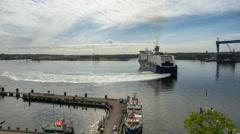 Kiel | Color Line sliding into Port of Kiel Stock Footage