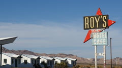 Zoom Out - Roy's Abandon Hotel on Route 66 California - 1950's Style - stock footage