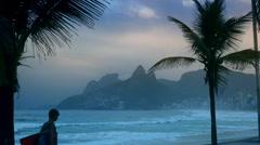 body boarder at ipanema beach in rio de janeiro, brazil - stock footage