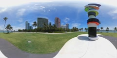 South Pointe Park Obstinate Lighthouse 360 video - stock footage