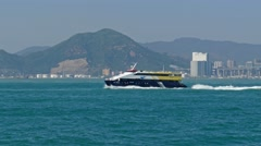 High-speed ferry boat in harbor of Hong Kong - stock footage