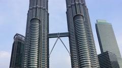 Petronas Twin Towers at Kuala Lumpur - stock footage