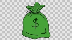 Money bag USD Sketch illustration hand drawn animation transparent Stock Footage